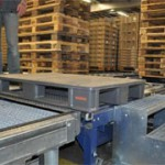 SICK's IQ40 inductive proximity sensors sort wooden and plastic pallets at Swiss wholesaler's warehouse