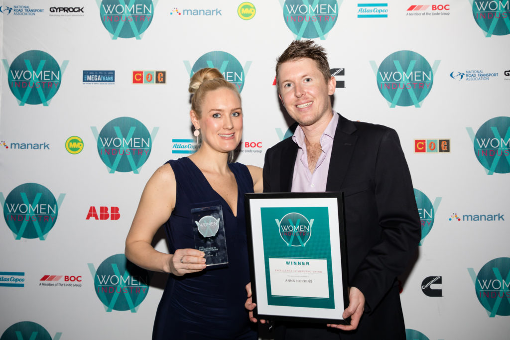Anna Hopkins, Co-Founder, The Low Carb Living Group alongside her brother and business partner Luke Hopkins at the Women in Industry Awards