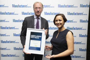 Manufacturers' Monthly's Tara Hamid receiving the award on behalf of Carbon Fibre.